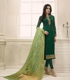 Buy Green georgette semi stitched salwar with dupatta festive-salwar-suit online