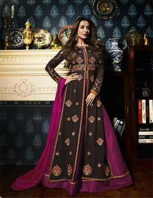 Brown embroidered faux georgette Anarkali Suit