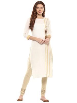 Off-white printed cotton kurtis