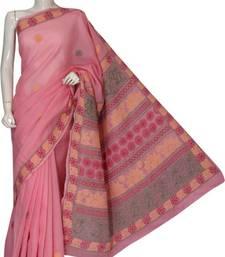 Buy Peach embroidered cotton saree with blouse chikankari-saris online