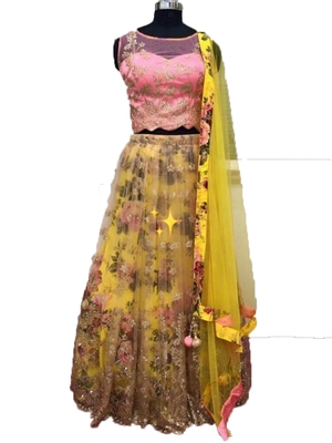 10b4eb7b63 Onion-pink embroidered net semi stitched lehenga - V9 Ethnic - 2687855