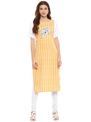 Yellow printed crepe kurtis