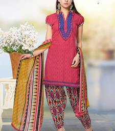 Buy Peach embroidered Jacquard unstitched salwar with dupatta dress-material online
