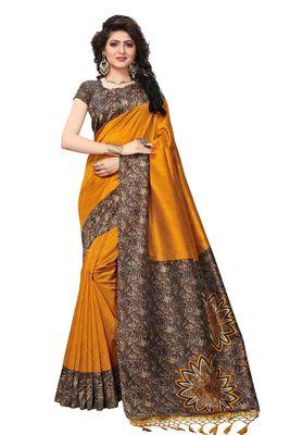 Yellow printed mysore silk saree with blouse