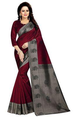 Red printed mysore silk saree with blouse