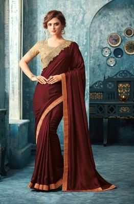 Maroon art silk saree with blouse