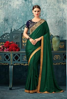 Green art silk saree with blouse
