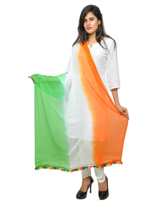 tri colour chiffon dupatta on this Independence day.
