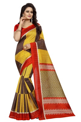Yellow printed bhagalpuri saree with blouse