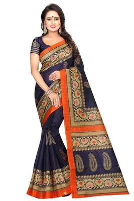 Navy blue printed bhagalpuri saree with blouse