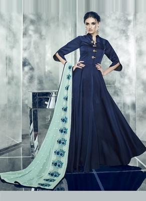 Navy Blue Embroidered Satin Stitched Salwar With Dupatta