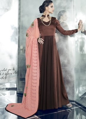 Brown Embroidered Satin Stitched Anarkali Suit