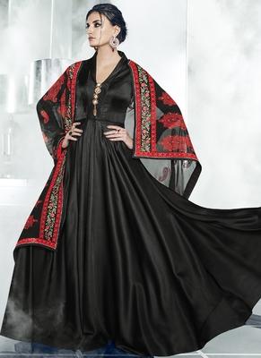 Black Embroidered Satin Stitched Salwar With Dupatta