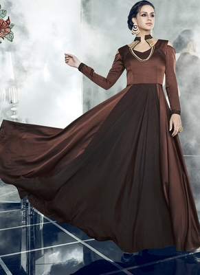Brown embroidered satin stitched salwar with dupatta