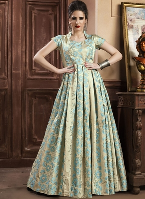 Sky Blue Jacquard Jacquard Stitched Salwar With Dupatta
