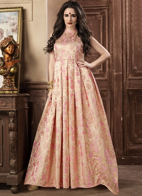 Cream Jacquard Jacquard Stitched Salwar With Dupatta