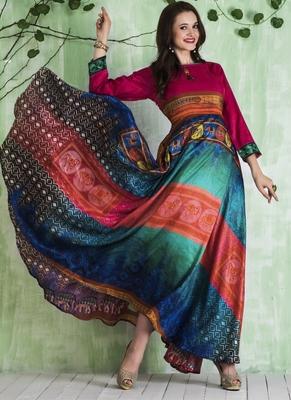 Multicolor digital print tussar stitched Anarkali Suit