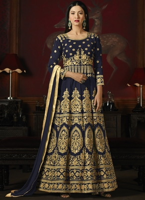 Navy blue embroidered silk semi stitched Anarkali Suit