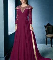 Wine Embroidered Georgette Stitched Salwar With Dupatta