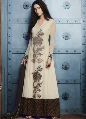 Off white embroidered georgette semi stitched Anarkali Suit