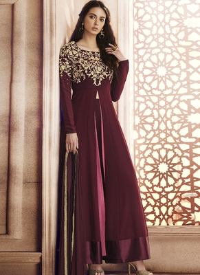 Wine embroidered georgette semi stitched Anarkali Suit