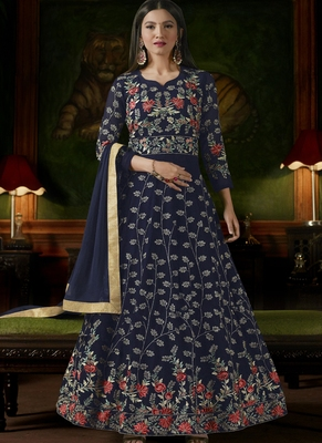Navy blue embroidered georgette semi stitched salwar with dupatta