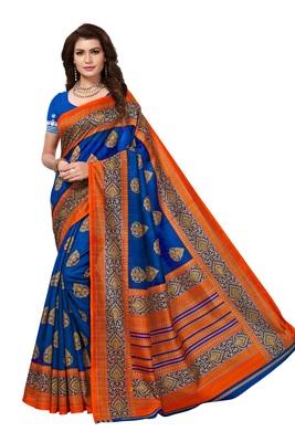 Blue printed bhagalpuri saree with blouse