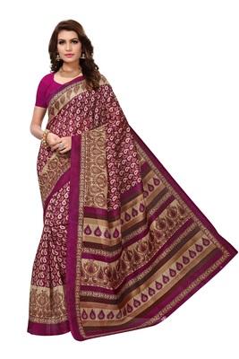 Purple printed bhagalpuri saree with blouse