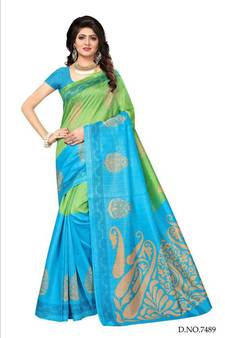 e1f37df43dc Green printed bhagalpuri saree with blouse