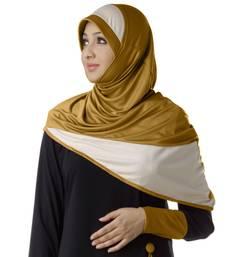 Gold  wheat poly cotton stitched hijab