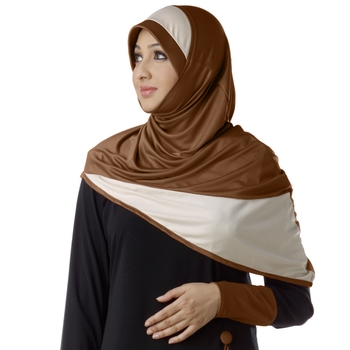 Dark wheat wheat poly cotton stitched hijab