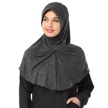 Black Poly Cotton Stitched Hijab
