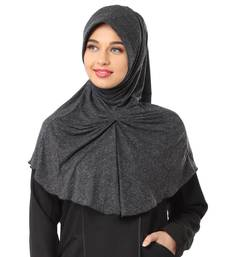 Black Poly Cotton Stitched Hijab