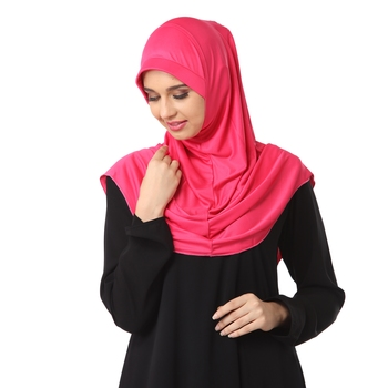 Pink poly cotton stitched hijab