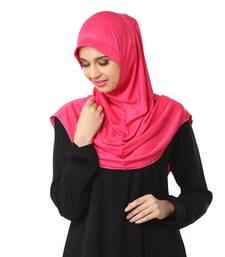 Pink poly cotton stitched hijab