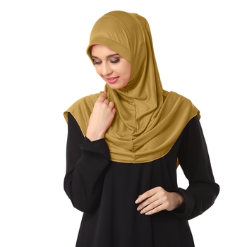 Gold poly cotton stitched hijab