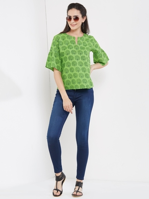 Green tree printed top with gathered sleeves