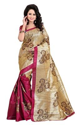 Multicolour printed bhagalpuri saree with blouse