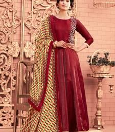 Buy Red Moti Satin Semi Stitched Anarkali Salwar With Dupatta anarkali-salwar-kameez online