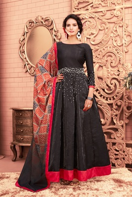 Black Moti Satin Semi Stitched Anarkali Salwar With Dupatta