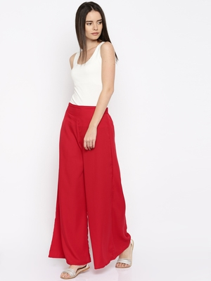 Red Crepe Material Palazzo