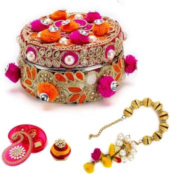 Red & Orange Cotton Balls Premium Box with 1 Lumba Rakhi