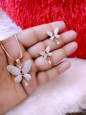 Gold Cz Peacock Pendant Set Without Chain for Women\Girls