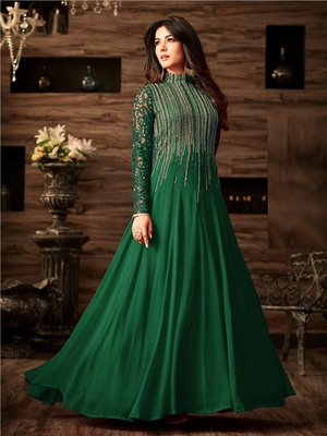 Green Embroidered Faux Georgette Anarkali Salwar Suit