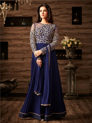 Blue Embroidered Faux Georgette Salwar With Dupatta