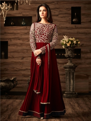 Maroon Embroidered Faux Georgette Salwar With Dupatta