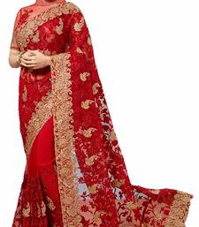 Buy Red embroidered georgette saree with blouse women-ethnic-wear online