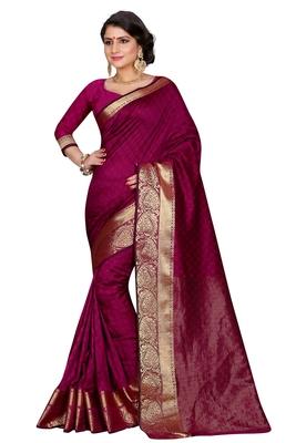 Magenta woven banarasi art silk  saree with blouse
