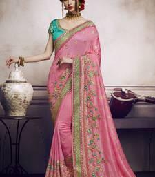 Buy Pink Resham Embroidered Silk Saree With Blouse designer-embroidered-saree online
