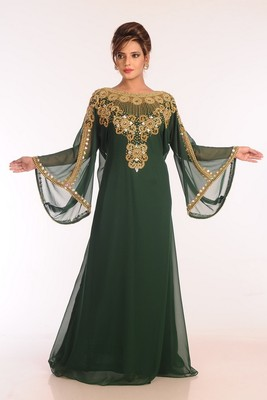 Bottom Green Georgette Embroidered Stitched Islamic Kaftans